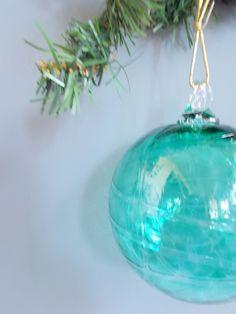 Hand Blown Art Glass Christmas Ball by providenceartglass on Etsy, $20.00