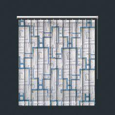 Blue Mix Retro Geometric Print Daylight Vertical Blind