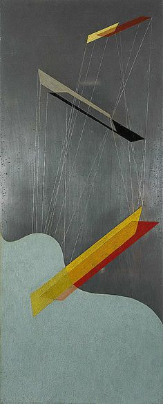 Sil I 1933 - László Moholy-Nagy - Oil and incised lines on silberit. This is the first of three works painted on a new type of aluminium called silberit, hence the title.