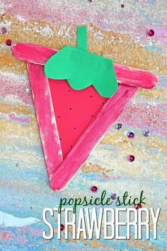 Inspired by our LOVE of strawberries {and a near by strawberry picking field here in Florida} today I present to YOU our Popsicle Stick Strawberry craft Cute Kids Crafts, Farm Crafts, Daycare Crafts, Craft Activities For Kids, Toddler Crafts, Preschool Crafts, Projects For Kids, Color Activities, Art Projects