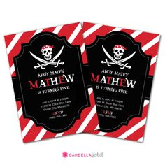 Pirate Invitation Pirate Birthday Party Pirate by GardellaGlobal