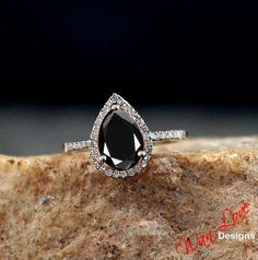 Black Spinel & Diamond Pear halo ring white, yellow, rose gold-Custom made your size-Wedding-Engagement-Anniversary-Layaway 14k-18k