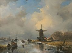 Andreas 'Andries' Schelfhout (1787-1870) A frozen river with skaters near a windmill, oil on panel 35.6 x 47.0 cm., signed l.r. and painted ca. 1840. Collection Simonis & Buunk, The Netherlands.
