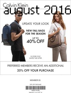 Calvin Klein Coupons Ends of Coupon Promo Codes MAY 2020 ! Klein inspire that senses. Calvin Klein 2016, Dollar General Couponing, Coupons For Boyfriend, Coupon Stockpile, Fall Bags, Free Printable Coupons, Grocery Coupons, Love Coupons, New Bag