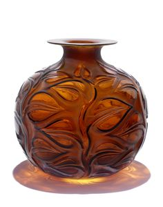 René Lalique 'Sophora' a Vase, design 1926 in amber glass, heightened with staining 25.7cm high