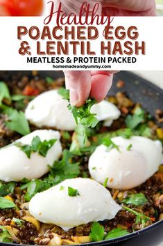Poached Eggs & Lentil Hash is great for brunch or dinner. Perfectly poached eggs on a bed of black beluga lentils. Protein-packed, gluten-free and meatless. Egg Recipes For Breakfast, Brunch Recipes, Dinner Recipes, Brunch Ideas, Breakfast Ideas, Lentil Recipes, Vegetarian Recipes, Healthy Recipes, Savoury Recipes