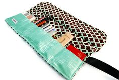 Makeup organizer bag in Geometric brown Makeup roll