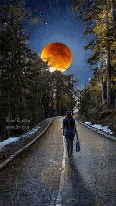 Walking away into the night. Foto Gif, Gif Photo, Beautiful Moon, Beautiful World, Les Gifs, Moon Pictures, Moon Photography, Moon Magic, Animation