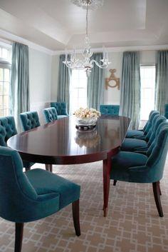 Dining room-House of Turquoise: Neil Landino Teal Dining Chairs, Teal Chair, Dining Room Curtains, Blue Chairs, Accent Chairs, Turquoise Dining Room, Velvet Chairs, Beach Chairs, Peacock Dining Room