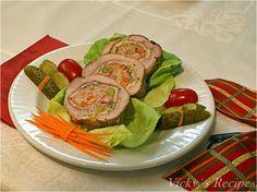 Ruladă din mușchi de porc cu omletă și legume