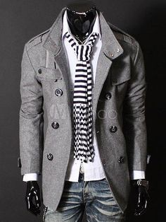 Cheap outerwear men, Buy Quality casual jacket men directly from China casual jacket Suppliers: Fashion Autumn Winter Man Trench Coat Slim Double-Breasted Woolen Coat Outerwear Men Casual Jacket Men Coat Asian/Size Fashion Mode, Look Fashion, Winter Fashion, Mens Fashion, Cheap Fashion, Fashion Spring, Nail Fashion, Fashion Photo, High Fashion