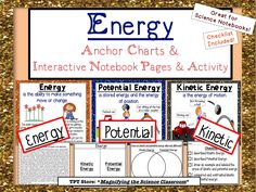 Support your unit on ENERGY with this bundle of anchor charts, interactive notebook page and activities! Includes a checklist and teacher notes to help you understand how to teach the lesson! Students will learn about energy, potential energy and kinetic energy with this product! $  #elementary #science #kinetic #potential #energy #teaching