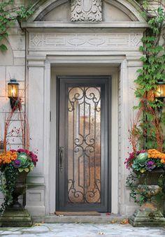 GlassCraft's Buffalo Forge Steel Single Door in Milano design - traditional - front doors - houston - GlassCraft Door Company