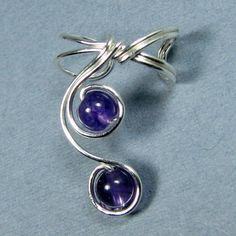 Sterling Silver Ear Cuff Amethyst Elegant Lobe Enhancer Choice of Beads. $13.95, via Etsy.