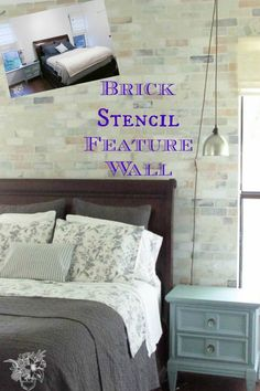 Create a brick stenciled wall that looks exactly like a real brick wall ~ I couldn't believe it was paint!