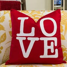 Make this cute DIY No Sew Valentine LOVE Pillow Cover for under $5!
