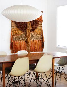 MID-CENTURY MODERN | Fiberglass Shell Chairs and George Nelson Saucer Lamp | http://modernica.net/saucer-lamp.html