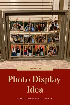 This graduation party senior table features a fun photo display.  Photos are clipped onto twine that is strung along frames.  Twinkle lights (from Walmart) are strung along the twine/photos.  This graduation party idea is a budget friendly way to showcase photos at a grad party.