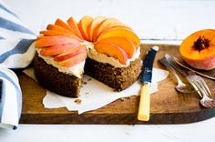 Peaches with ginger, pecan & brown sugar cake