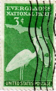 US postage stamp, 3 cents.  Everglades National Park, Florida.  Issued 1947.  Scott catalog 952.