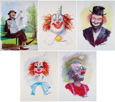 5 CLOWNS Clown Art Emmett Kelly Red Skelton by WHaroldHancock