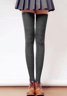 High Grey Knitted Socks- Knee High Grey Knitted Socks