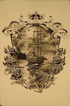 my ship tattoo. Body Art Tattoos, New Tattoos, Tattoo Drawings, Cool Tattoos, Tattoo Barco, Pinstriping, Skin Art, Pyrography, Beautiful Tattoos