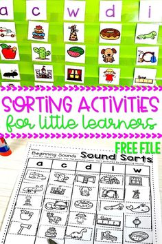 Sound sorting activities for kindergarten. Practice phonemic awareness skills with these engaging sound sorts that can be used for centers or in small group! #soundsorts #beginningsounds #phonemicawareness #kindergarten