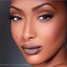 Glamorous makeup in natural tones for African American skin |ethnic|black|@munaluchibride