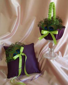 basket for flower girl and pillow for ring bearer