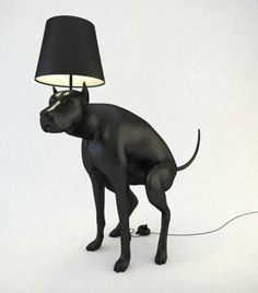 Black Dog Pooping Lamp with the On Off Switch on the Pile of Poop ---- hilarious jokes funny pictures walmart humor fails