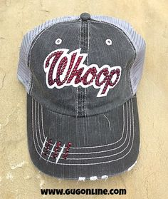 Maroon Whoop in Swarovski Crystals on Black Distressed Trucker Cap www.gugonline.com