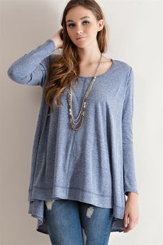 5cd81c8078cdee Weekender Relax Fit Long Sleeve Tunic Top Blue Gray