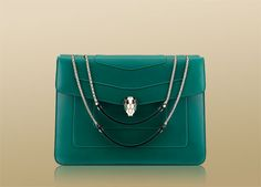 Top handle bag in emerald green calf leather with