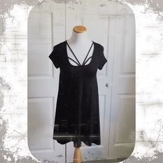 The Mistress  Black flowy tunic/dress. Can easily be worn as a dress or with leggings as a tunic. Strappy neckline. Runs true to size. April Spirit Tops Tunics