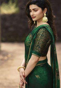 prachi desai green silk georgette printed saree 20315
