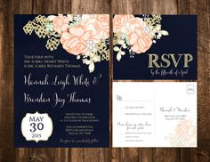 NAVY & CORAL FLORAL WEDDING INVITATION SET    FORMAT:  5x7 (A7), Single-Sided Invitation  5.5 x 4.25 (A2), Double-Sided post card style RSVP    How