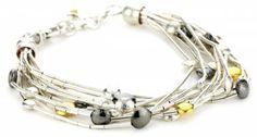 "Gurhan ""Lentil"" Silver with High Karat Gold Accents Bracelet Jewelry Shop, Jewelry Design, Jewelry Making, Designer Jewelry, Trendy Bracelets, Baubles And Beads, Bugle Beads, Gold Accents, Women Jewelry"