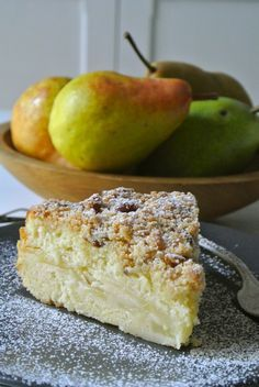 This Pear Streusel Cake recipe came personally recommended to me (by my mother) but when I make it I'll substitute whole wheat pastry flour. Pear Dessert Recipes, Just Desserts, Delicious Desserts, Cake Recipes, Asian Pear Recipes, Jelly Recipes, Pear Coffee Cake Recipe, Streusel Cake, Recipes