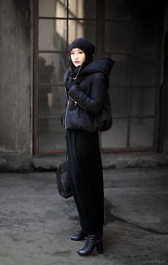 STYLED: Perfect black on black winter layering.