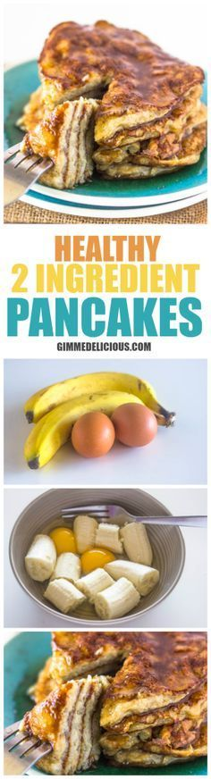 Fast Healthy Breakfast Recipes : Healthy 2 Ingredient Pancakes (Paleo, Gluten & Dairy-Free, No Sugar added) Dairy Free Recipes, Low Carb Recipes, Cooking Recipes, Healthy Recipes, Gluten Free, Diet Recipes, Diet Meals, Healthy Sugar, Vegetarian Recipes