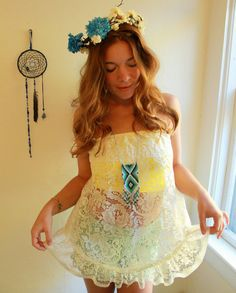 Yellow/White Lace Babydoll Apron Boho Ruffle Festival Summer Hippie Bohemian Bandeau Tube Top Shirt Womens One Size S/M/L on Etsy, $34.00