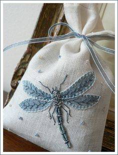 dragonfly, sachet, embroidery Beautifully done! Would look GREAT on a Crazy Quilt patch. Or a Tarot bag! Embroidery Art, Embroidery Applique, Cross Stitch Embroidery, Embroidery Patterns, Machine Embroidery, Quilt Patterns, Block Patterns, Fabric Crafts, Sewing Crafts