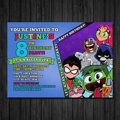 Teen Titans Inspired Invitation Teen Titans Go by ChaliceTee