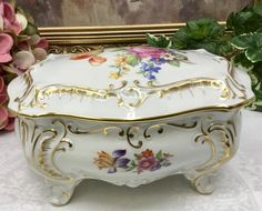Porcelain large trinket box by MarquisTreasures on Etsy Antique Items, Dresden, Trinket Boxes, Decorative Boxes, This Or That Questions, Antiques, Heart, Etsy, Jewelry