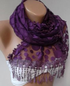 Purple   Elegance  Shawl / Scarf with Lacy Edge by womann on Etsy, $19.90