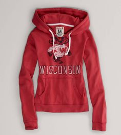 Wisconsin Vintage Hooded Popover - American Eagle has sports stuff now! I love this sweatshirt!!!