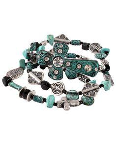 Triple Strand Faux Turquoise Beaded Cross Stretch Bracelet