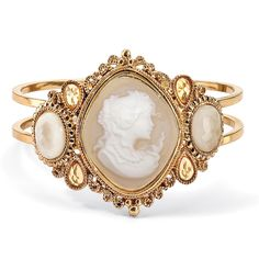 """Vintage Style Cameo Hinged Bangle Bracelet in Yellow Gold Tone 7 1/2"""" on PalmBeach Jewelry"""