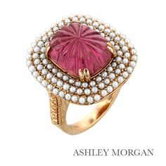 Pink ring with pearl pave, made for Gump's